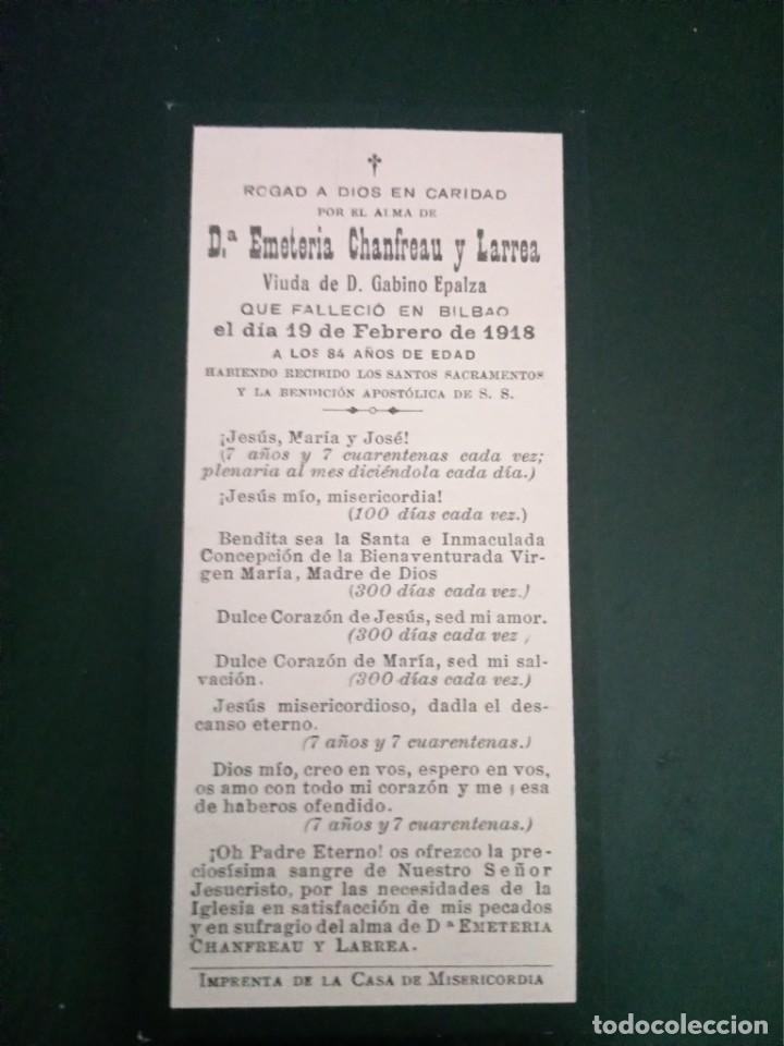 RECORDATORIO FALLECIMIENTO EMETERIA CHANFREAU LARREA EPALZA BILBAO 1918 (Postales - Postales Temáticas - Religiosas y Recordatorios)