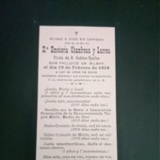Postales: RECORDATORIO FALLECIMIENTO EMETERIA CHANFREAU LARREA EPALZA BILBAO 1918. Lote 218421995