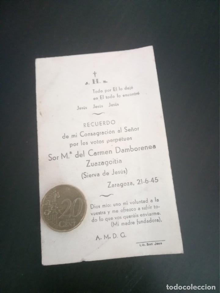 RECORDATORIO SIERVA DE JESÚS VOTOS DAMBORENEA ZUAZAGOITIA 1945 (Postales - Postales Temáticas - Religiosas y Recordatorios)