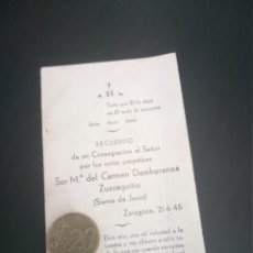 Postales: RECORDATORIO SIERVA DE JESÚS VOTOS DAMBORENEA ZUAZAGOITIA 1945. Lote 218560183