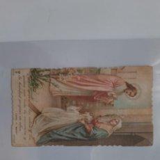 Postales: COMUNION NIÑA COLEGIO SANTA ANA UTIEL 1924 ANTIGUA ESTAMPA TROQUELADA E10. Lote 218581102