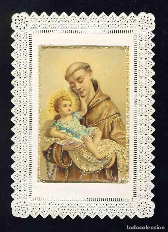 ESTAMPA DE PUNTILLA CALADA TROQUELADA: SAN ANTONIO DE PADUA (Postales - Postales Temáticas - Religiosas y Recordatorios)