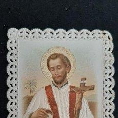 Postales: ANTIGUA ESTAMPA RELIGIOSA VIRGEN SAN FRANCISCO JAVIER XAVIE TELA CALADA TROQUELADA ORIGINAL ESJ 1999. Lote 219095787
