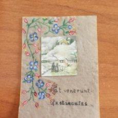 Postales: ANTIGUA ESTAMPITA EN PAPEL CEBOLLA PINTADA Y ESCRITA A MANO. Lote 219405230