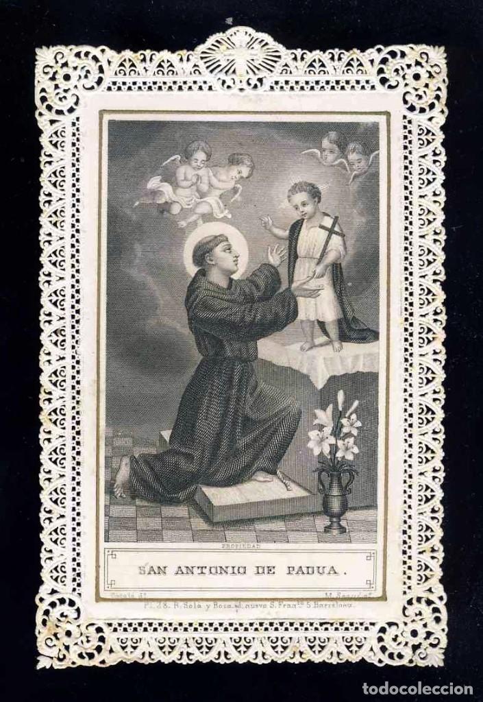 ESTAMPA RELIGIOSA DE PUNTILLA CALADA TROQUELADA: SAN ANTONIO DE PADUA (ED.SOLA I ROCA 28) (Postales - Postales Temáticas - Religiosas y Recordatorios)