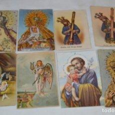 Postales: LOTE 8 POSTALES ANTIGUAS / IMÁGENES RELIGIOSAS / CON DETALLES DE BRILLANTINA - ¡MIRA FOTOS/DETALLES!. Lote 220469495