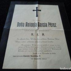 Postales: ESQUELA GRAN TAMAÑO 26 X 20 CM 1928 JUMILLA. Lote 221882701