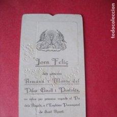 Postales: ARMAND Y MARIA DEL PILAR GIRALT.-RECUERDO PRIMERA VEGADA.-ESTAMPA RELIGIOSA.-BARCELONA.-1928.. Lote 222082195