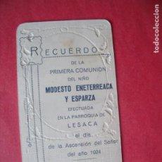 Postales: MODESTO ENETERREACA Y ESPARZA.-RECUERDO PRIMERA COMUNION.-ESTAMPA RELIGIOSA.-LESACA.-AÑO 1924.. Lote 222082433