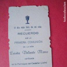 Postales: LUISITA VALIENTE MARCO.-RECUERDO PRIMERA COMUNION.-ESTAMPA RELIGIOSA.-CASTELLAR.-JAEN.-AÑO 1926.. Lote 222082515