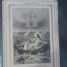 Postales: ANTIGUA ESTAMPA RELIGIOSA DE PUNTILLA, VER FOTOS. Lote 223500238