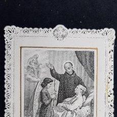 Cartes Postales: ANTIGUA ESTAMPA RELIGIOSA SAN JUAN DE DIOS CALADA PUNTILLA ORIGINAL ESJ 2560. Lote 223800082