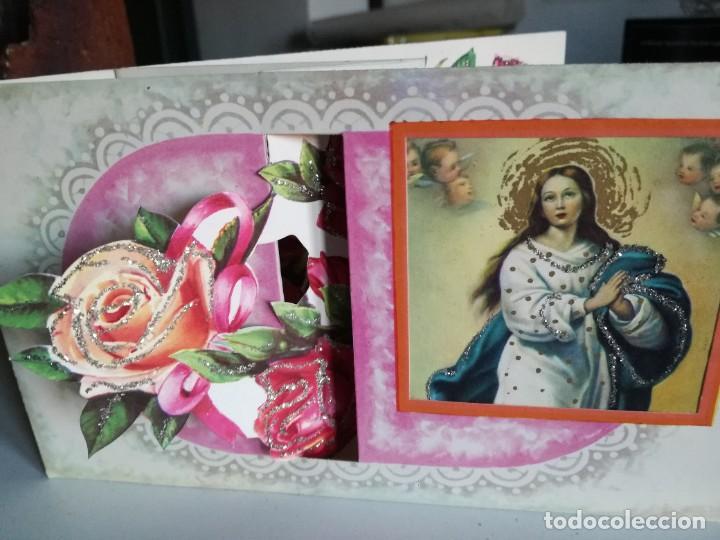 Postales: Postal superdesplegable troquelada y purpurina de La Virgen años 60 - Foto 3 - 224016328
