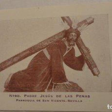 Postais: ANTIGUA ESTAMPA.ORACION.CRISTO JESUS DE LAS PENAS.SAN VICENTE.SEVILLA AÑOS 20.30. Lote 224128146