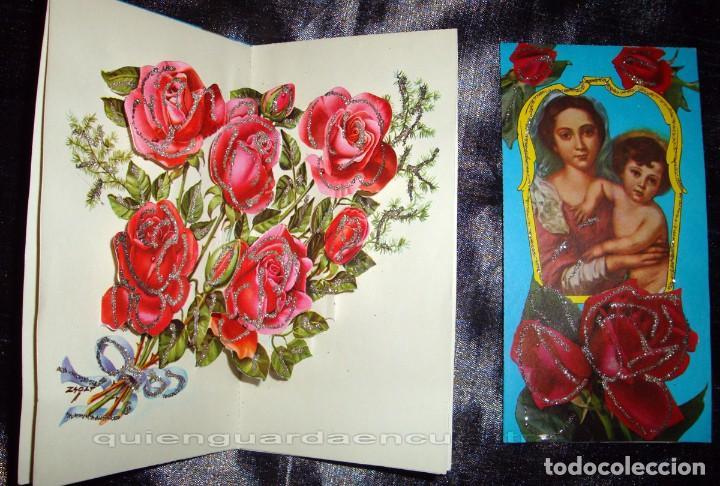 POSTAL DE 1963 CEDAG, TROQUELADA-DESPLEGABLE-RELIEVE BOUQUET DE ROSAS-LA VIRGEN Y EL NIÑO (Postales - Postales Temáticas - Religiosas y Recordatorios)