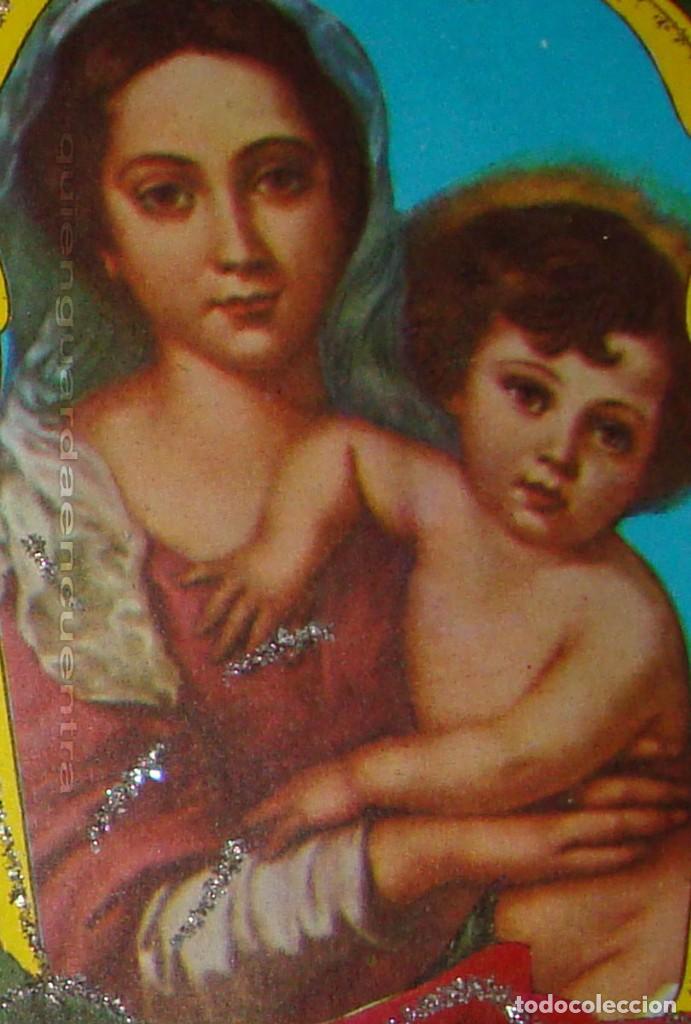 Postales: Postal de 1963 Cedag, troquelada-desplegable-relieve bouquet de rosas-La Virgen y el Niño - Foto 3 - 224424560