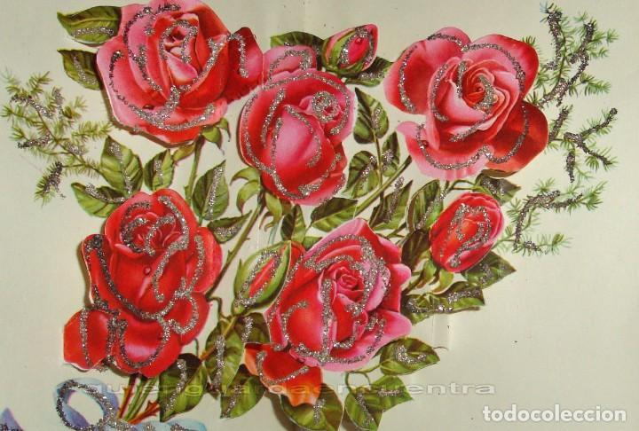 Postales: Postal de 1963 Cedag, troquelada-desplegable-relieve bouquet de rosas-La Virgen y el Niño - Foto 4 - 224424560