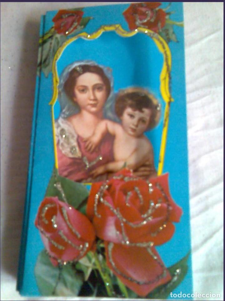Postales: Postal de 1963 Cedag, troquelada-desplegable-relieve bouquet de rosas-La Virgen y el Niño - Foto 2 - 224424560