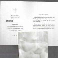 Cartoline: RECORDATORIO DEFUNCIÓN - BARCELONA 1978. Lote 227709790