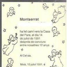 Postais: RECORDATORIO DEFUNCIÓN AÑO 1991 - MOIÀ. Lote 227712605