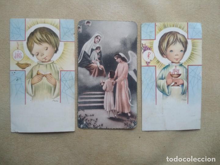 LOTE 3 RECORDATORIOS DE COMUNION (Postales - Postales Temáticas - Religiosas y Recordatorios)