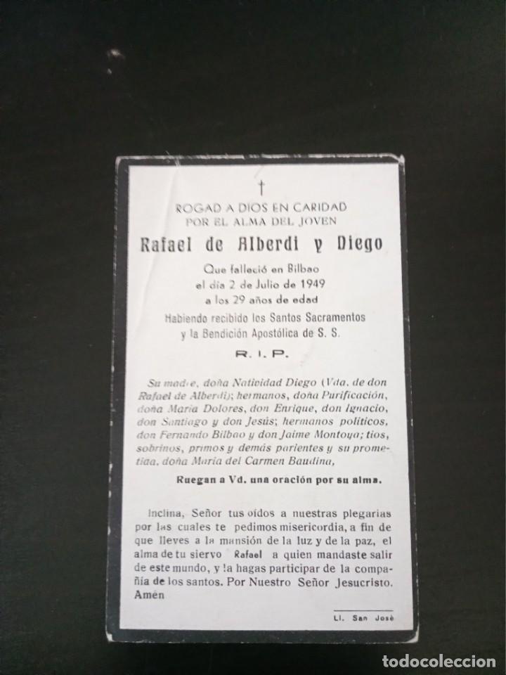 RECORDATORIO RAFAEL ALBERDI DIEGO BILBAO 1949 (Postales - Postales Temáticas - Religiosas y Recordatorios)