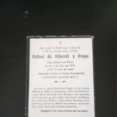 Postales: RECORDATORIO RAFAEL ALBERDI DIEGO BILBAO 1949. Lote 229521090