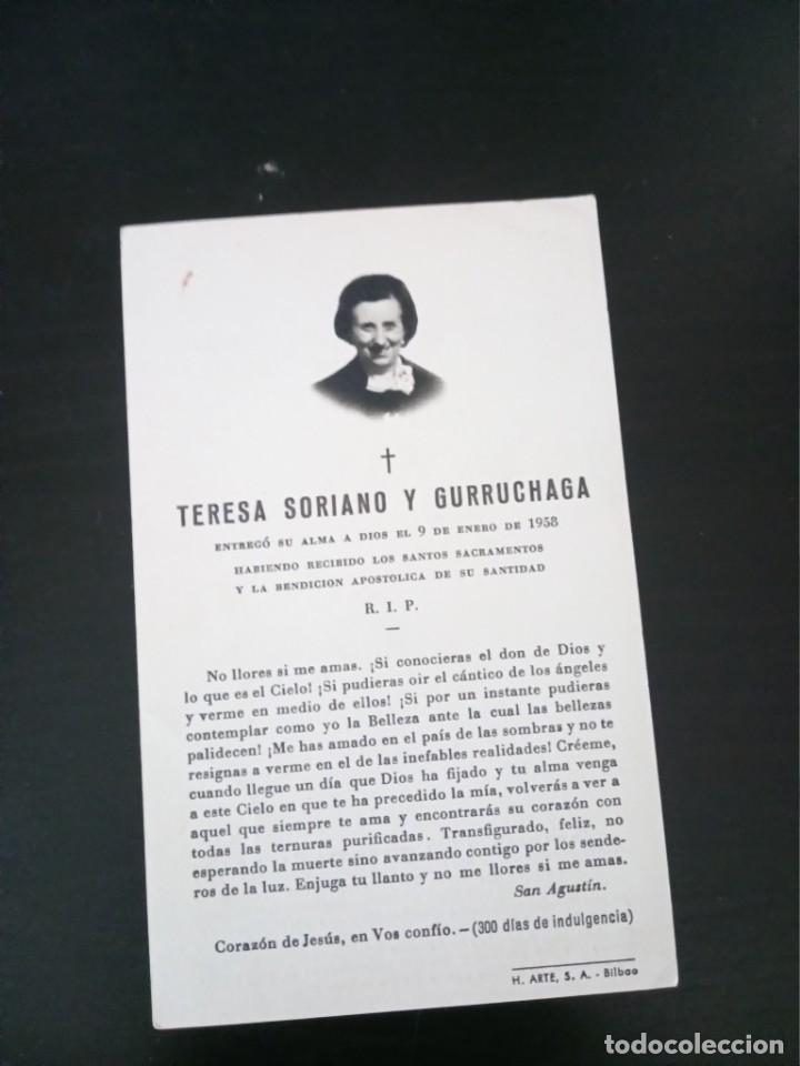 RECORDATORIO TERESA SORIANO GURRUCHAGA 1958 BILBAO (Postales - Postales Temáticas - Religiosas y Recordatorios)
