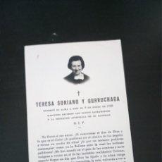 Postales: RECORDATORIO TERESA SORIANO GURRUCHAGA 1958 BILBAO. Lote 229521310