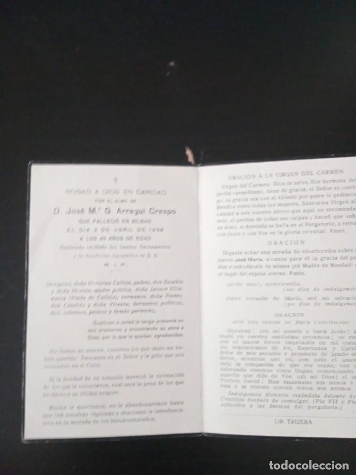 RECORDATORIO ARREGUI CRESPO CALLEJA 1938 BILBAO GUERRA CIVIL (Postales - Postales Temáticas - Religiosas y Recordatorios)