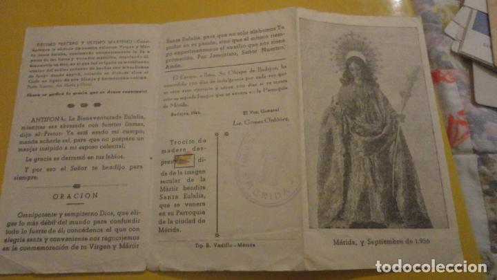 ANTIGUA ESTAMPA RELIQUIA.TROCITO MADERA.SANTA EULALIA MARTIR.MERIDA 1956 (Postales - Postales Temáticas - Religiosas y Recordatorios)