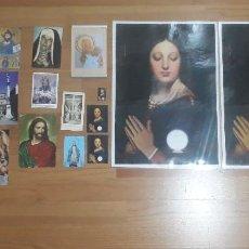 Postales: LÁMINAS GRANDES, 15 ESTAMPAS VIRGEN Y JESUCRISTO, UNA DE ELLAS CON PORTARETRATOS. Lote 89661832