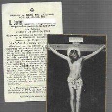 Cartoline: RECORDATORIO DEFUNCIÓN AÑO 1944 - PROCURADOR DE LOS TRIBUNALES -BARCELONA. Lote 233863990