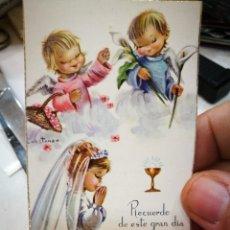 Postales: RECORDATORIO PRIMERA COMUNIÓN MARÍA VICTORIA LASA IGLESIAS 1966 SANTURCE PARROQUIA DE SAN JORGE. Lote 234373040