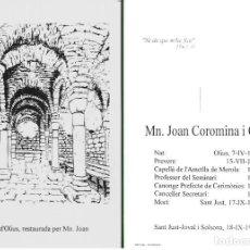 Postais: RECORDATORIO DEFUNCIÓN MN. JOAN COROMINA I CLOP 1993. Lote 234694355