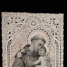 Cartes Postales: ANTIGUA ESTAMPA RELIGIOSA SAN ANTONIO DE PADUA PUNTILLA CALADA ORIGINAL ESJ 2838. Lote 238195410