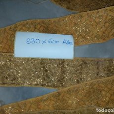Postales: 330 X 6 CM ESPECTACULAR ANTIGUO GALON ORO METAL HOJILLA ANCHO IDEAL VIRGEN SEMANA SANTA CONFECCION. Lote 240699555