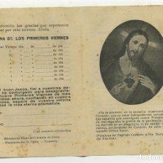 Postales: NOVENA SAGRADO CORAZON JESUS PRIMEROS VIERNES DIPTICO DE LOS AÑOS 40. Lote 244431910