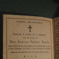Postales: RECUERDO FUNERAL.D.ANTONIO PACHON PATILLA.LOS SANTOS DE MAIMONA.BADAJOZ 1942. Lote 244443810