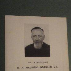 Postales: RECUERDO FUNERAL.R.P.MAURIZIO GORDILLO.1894- 1961.INSTITUTO ORIENTALE DI ROMA.. Lote 244446815