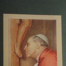 Postales: ANTIGUA ESTAMPA CON RELIQUIA.TELA.PAPA PIO XII. ORACION. 1958. Lote 244447380
