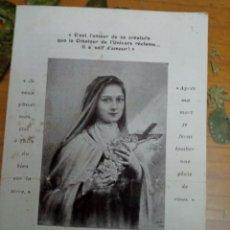 Postales: ESTAMPA DIPTICO, SANTA TERESA DE JESÚS, ESCRITO EN FRANCÉS, 1913. Lote 244641555