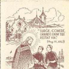 Postales: ILUSTRACIÓN ANTONI BATLLORI JOFRÉ. 1952. VIC. MONTSERRAT. MIG CAMÍ AL SACERDOCI. 15X9,5 CM.. Lote 244715335