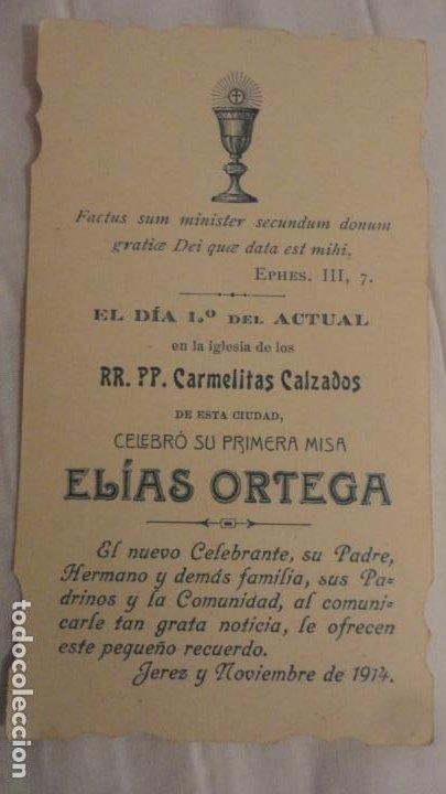 RECUERDO PRIMERA MISA.D.ELIAS ORTEGA.CARMELITA.JEREZ 1914 (Postales - Postales Temáticas - Religiosas y Recordatorios)