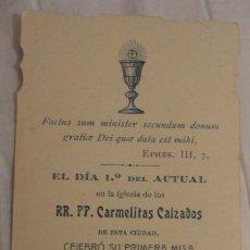 Postales: RECUERDO PRIMERA MISA.D.ELIAS ORTEGA.CARMELITA.JEREZ 1914. Lote 246185130