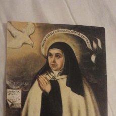 Postales: ANTIGUA ESTAMPA CON RELIQUIA.SANTA TERESA DE JESUS. SIGLO XX. Lote 246185980