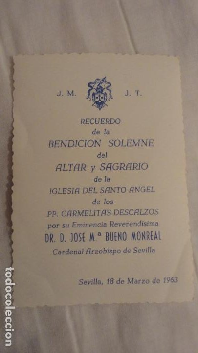 Postales: RECUERDO BENDICION SOLEMNE.ALTAR SAGRARIO.IGLESIA SANTO ANGEL.BUENO MONREAL.SEVILLA 1963 - Foto 2 - 246186310