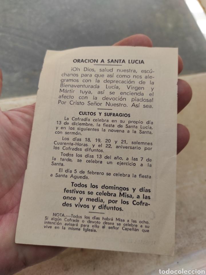 Postales: Estampa Religiosa - Oración - Cofradía de la Verge y Mártir Santa Lucía - Valencia - - Foto 5 - 254454435