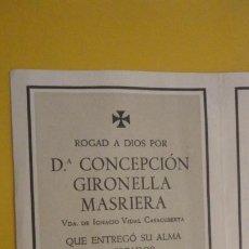 Postales: RECUERDO FUNERAL.Dª CONCEPCION GIRONELLA MASRIERA.CATALUÑA 1953. Lote 255919230