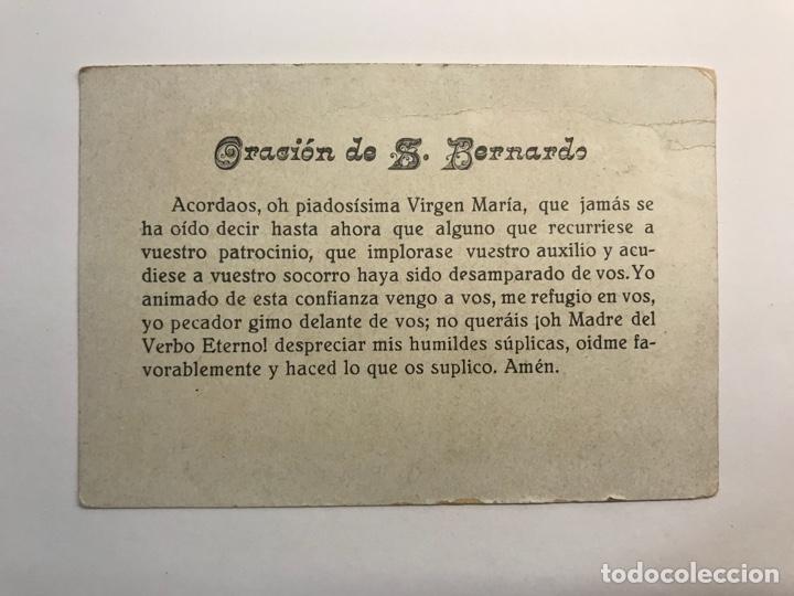 Postales: DIVINA INFANTITA, Estampa religiosa Edic. O. Benziger & Cia, Mexico, Anverso oración a San Bernardo - Foto 2 - 262155095